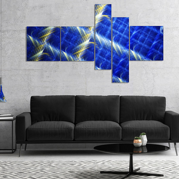 Designart Blue Abstract Metal Grill Multipanel Abstract Art On Canvas - 5 Panels