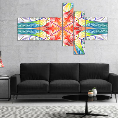 Designart Multi Color Fractal Circles And Waves Multipanel Abstract Canvas Art Print - 5 Panels