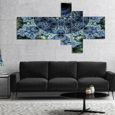 Designart Blue And Green Spiral Fractal Art Multipanel Abstract Canvas Art Print - 4 Panels