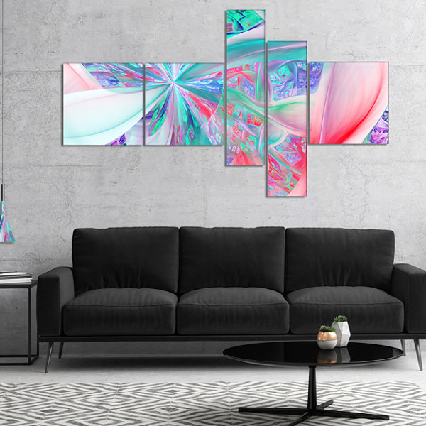 Designart Multi Color Fractal Exotic Plant StemsMultipanel Abstract Canvas Art Print - 4 Panels