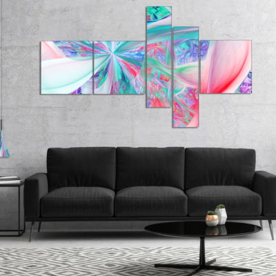 Designart Multi Color Fractal Exotic Plant StemsMultipanel Abstract Canvas Art Print - 5 Panels
