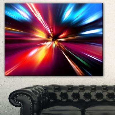 Designart Speed Motion In Night Abstract Canvas Art Print - 3 Panels