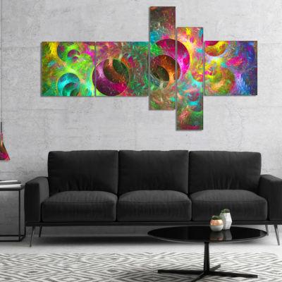 Designart Multi Color Fractal Glass Texture Multipanel Abstract Canvas Art Print - 4 Panels