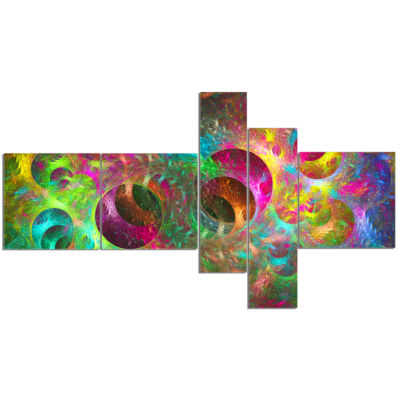 Designart Multi Color Fractal Glass Texture Multipanel Abstract Canvas Art Print - 5 Panels