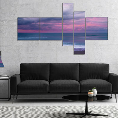 Designart Blue And Pink Unset Over Sea MultipanelSeashore Canvas Art Print - 5 Panels