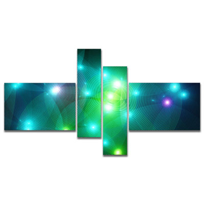 Designart Multi Color Fractal Lights In Fog Multipanel Abstract Wall Art Canvas - 4 Panels