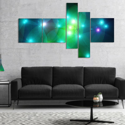 Designart Multi Color Fractal Lights In Fog Multipanel Abstract Wall Art Canvas - 5 Panels
