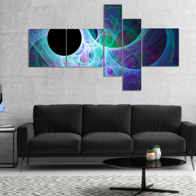 Designart Blue Angel Wings On Black Multipanel Abstract Wall Art Canvas - 5 Panels