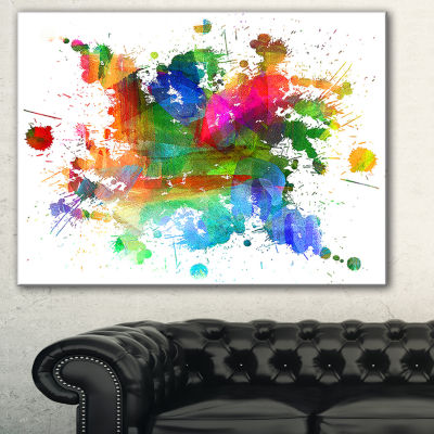 Designart Splashes Of Colors Abstract Oil PaintingCanvas - 3 Panels