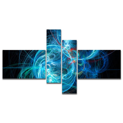 Designart Blue Ball Of Yarn Multipanel Abstract Canvas Art Print - 4 Panels