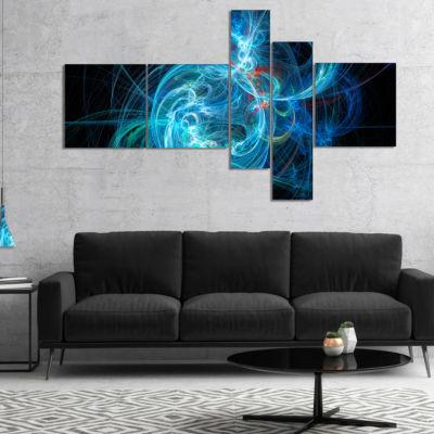 Designart Blue Ball Of Yarn Multipanel Abstract Canvas Art Print - 5 Panels