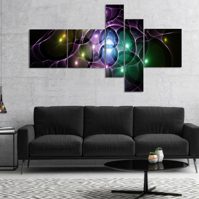 Designart Multi Color Fractal Space Circles Multipanel Abstract Canvas Art Print - 5 Panels
