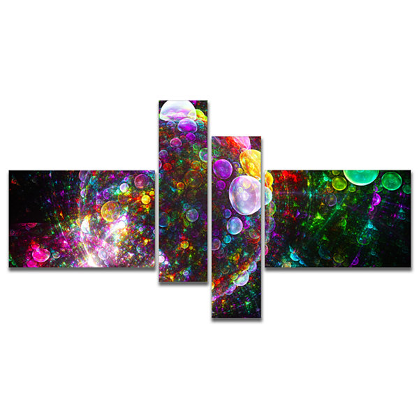 Designart Multi Color Fractal Spherical Bubbles Multipanel Abstract Canvas Art Print - 4 Panels