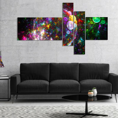 Designart Multi Color Fractal Spherical Bubbles Multipanel Abstract Canvas Art Print - 5 Panels