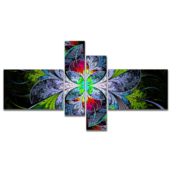 Designart Multi Color Fractal Stained Glass Multipanel Abstract Wall Art Canvas - 4 Panels