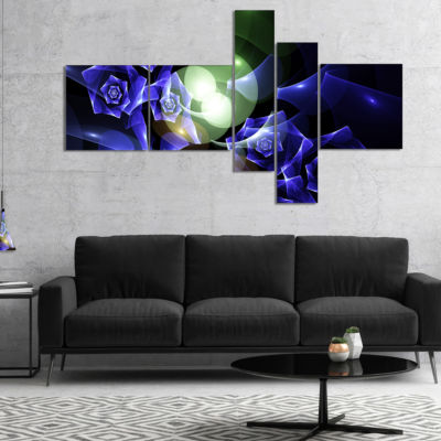 Designart Blue Bouquet Of Beautiful Roses Multipanel Abstract Canvas Art Print - 4 Panels