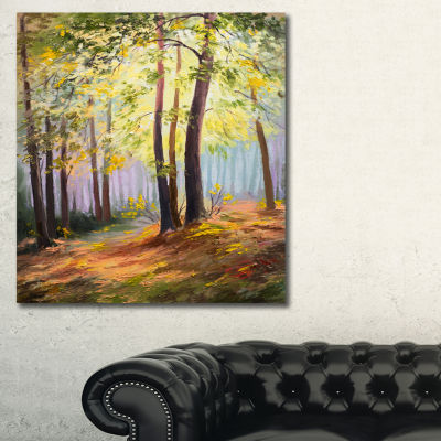 Designart Spring Forest With Sunlight Landscape Art Print Canvas - 3 Panels