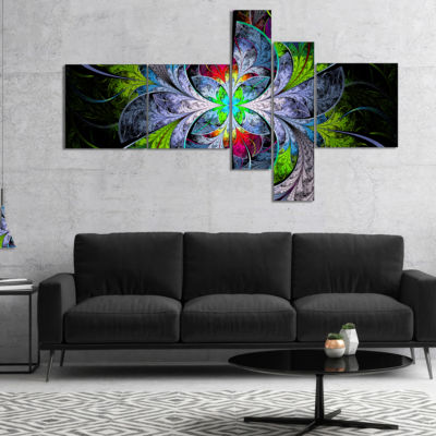 Designart Multi Color Fractal Stained Glass Multipanel Abstract Wall Art Canvas - 5 Panels