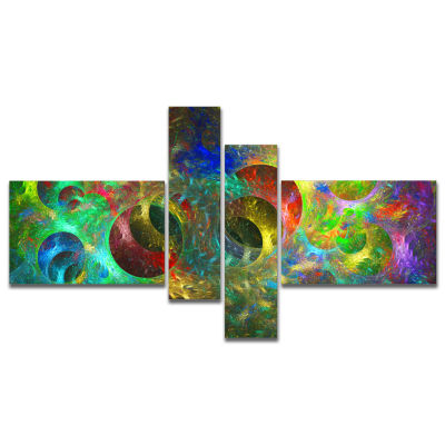 Designart Multi Color Glowing Circles Multipanel Abstract Canvas Art Print - 4 Panels
