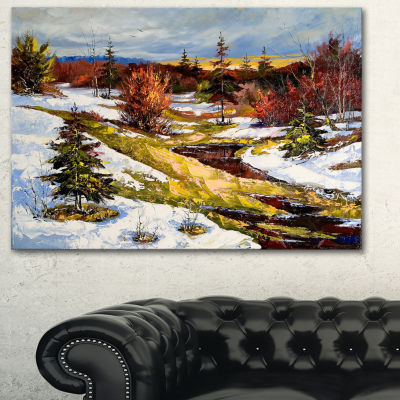 Designart Spring Valley With River Landscape Art Print Canvas