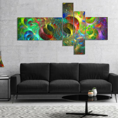 Designart Multi Color Glowing Circles Multipanel Abstract Canvas Art Print - 5 Panels