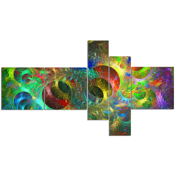 Designart Multi Color Glowing Circles MultipanelAbstract Canvas Art Print - 5 Panels