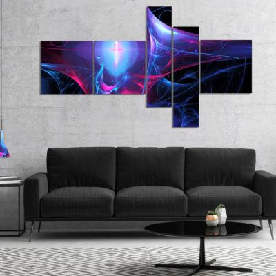 Designart Blue Bright Candle Multipanel AbstractCanvas Art Print - 5 Panels