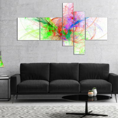 Designart Multi Color On White Fractal Design Multipanel Abstract Canvas Art Print - 4 Panels