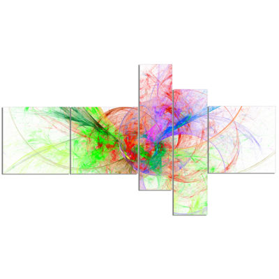 Designart Multi Color On White Fractal Design Multipanel Abstract Canvas Art Print - 5 Panels