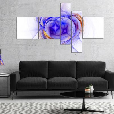 Designart Blue Bright Star Nebula Multipanel Abstract Canvas Art Print - 5 Panels