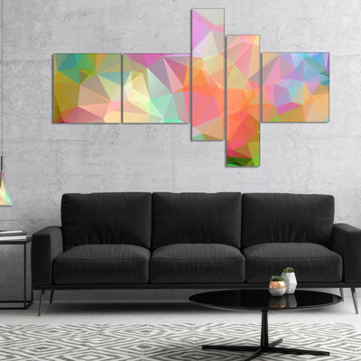 Designart Multi Color Polygonal Mosaic Pattern Multipanel Abstract Canvas Art Print - 4 Panels