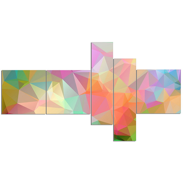 Designart Multi Color Polygonal Mosaic Pattern Multipanel Abstract Canvas Art Print - 5 Panels