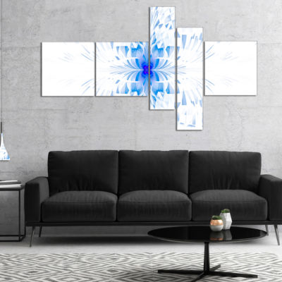 Designart Blue Butterfly Outline On White Multipanel Abstract Wall Art Canvas - 4 Panels