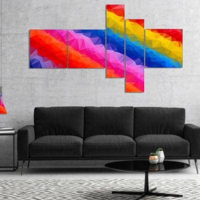 Designart Multi Color Polygonal Pencils MultipanelAbstract Canvas Art Print - 5 Panels