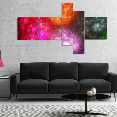 Designart Multi Color Rotating Galaxies MultipanelAbstract Wall Art Canvas - 5 Panels