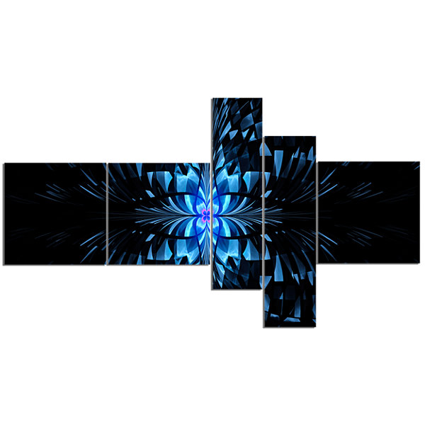 Designart Blue Butterfly Pattern On Black Multipanel Abstract Art On Canvas - 5 Panels