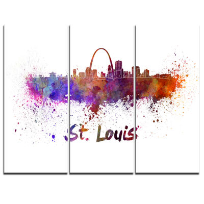 Designart St Louis Skyline Cityscape Canvas Artwork Print - 3 Panels