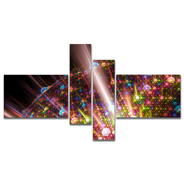 Designart Multi Color Solar Bubbles Planet Multipanel Abstract Canvas Art Print - 4 Panels