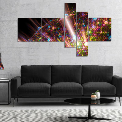 Designart Multi Color Solar Bubbles Planet Multipanel Abstract Canvas Art Print - 5 Panels