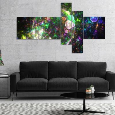 Designart Multi Color Spherical Planet Bubbles Multipanel Abstract Canvas Art Print - 5 Panels