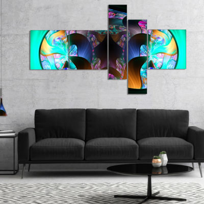 Designart Blue Capsule In Plasma Multipanel Abstract Canvas Art Print - 5 Panels