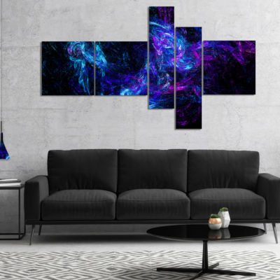 Designart Blue Chaotic Strokes Multipanel AbstractCanvas Art Print - 4 Panels