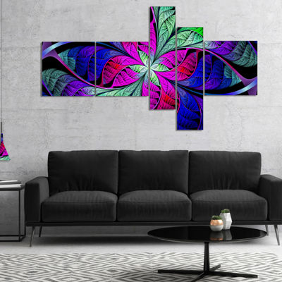 Designart Multi Color Stained Glass Texture Multipanel Abstract Canvas Art Print - 5 Panels