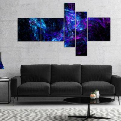 Designart Blue Chaotic Strokes Multipanel AbstractCanvas Art Print - 5 Panels