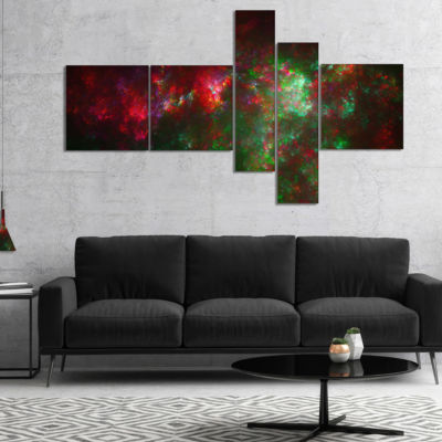 Designart Multi Color Starry Fractal Sky Multipanel Abstract Canvas Art Print - 4 Panels