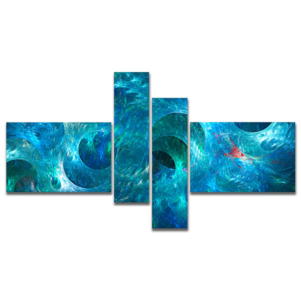 Designart Blue Circles Fractal Texture MultipanelAbstract Canvas Art Print - 4 Panels