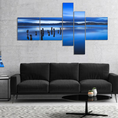 Designart Blue Clouds At Evening Multipanel Seascape Canvas Art Print - 5 Panels