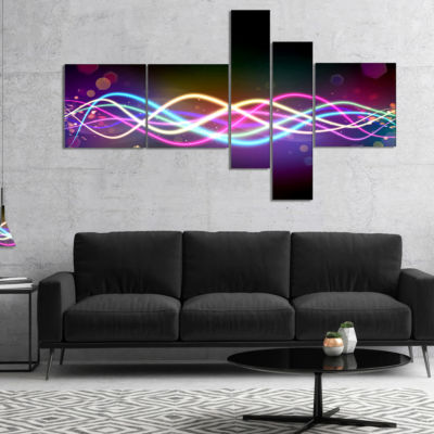 Designart Multi Colored Tangled Lines MultipanelAbstract Canvas Art Print - 5 Panels