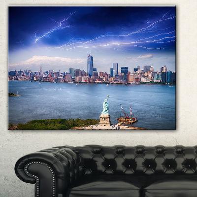 Designart Statue Of Liberty And Skyline CityscapePhoto Canvas Print - 3 Panels