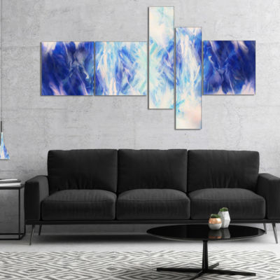 Designart Blue Collage With Spots Multipanel Abstract Canvas Art Print - 4 Panels